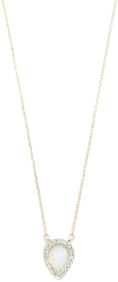 Adina 14k Gold Small Opal & Diamond Teardrop Pendant Necklace