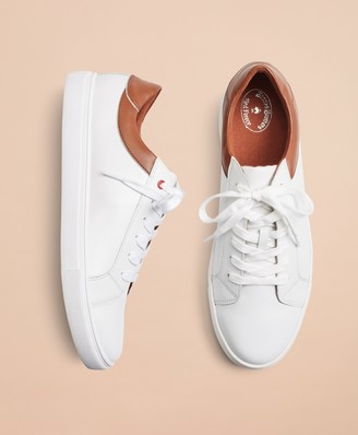 Brooks Brothers White Contrast Leather Sneakers