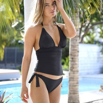 La Redoute Collections Plain Triangle Tankini Mix and Match Top with Ring Detail
