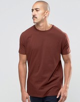 Asos Longline T-Shirt With Grown On Sleeve In Red