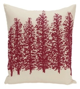 e by design 16 Inch Off White and Red Decorative Floral Throw Pillow