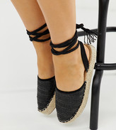 Truffle Collection Wide Fit woven tie leg espadrilles