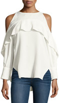 Halston Long-Sleeve Cold-Shoulder Tunic w/ Flutter Detail