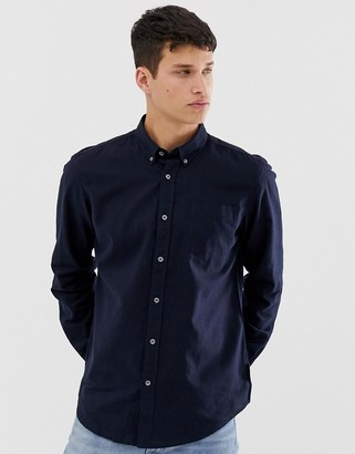 French Connection slim fit long sleeve linen shirt-Navy