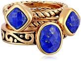 "Barse Glisten"" Bronze Lapis Stack Ring, Size 8"