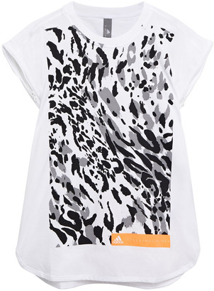 adidas by Stella McCartney Neon-trimmed Printed Cotton-blend Jersey T-shirt