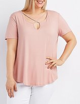 Charlotte Russe Plus Size Strappy Ribbed Tee