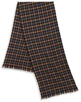 Hickey Freeman Tattersall Patterned Merino Wool Scarf
