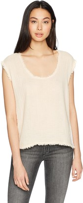 Three Dots Women's Double Gauze Short Loose Cap Sleeve Top