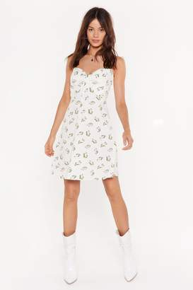 Nasty Gal Womens Grow Strings Attached Floral Mini Dress - White - 8, White