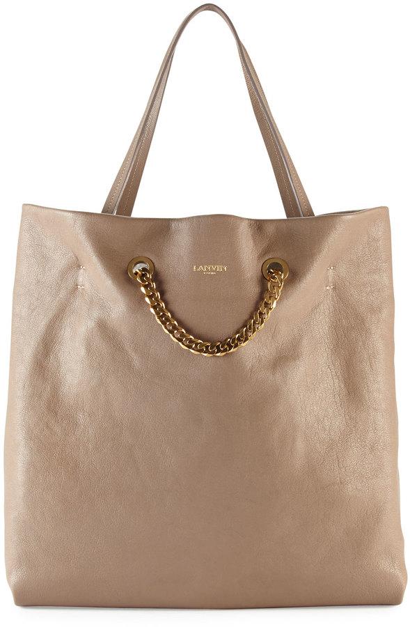 Lanvin Carry Me Lambskin Medium Tote Bag, Tan