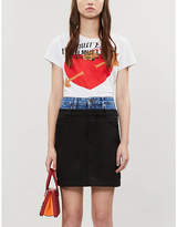 Sandro Capri contrast-waistband denim and woven mini skirt