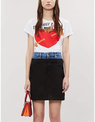 Sandro Capri contrast-waistband denim and woven mini skirt