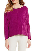 Eileen Fisher Bateau Neck Long Sleeve Hi-Low Hem Solid Poncho Sweater