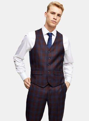 HARRY BROWN Navy and Burgundy Check Slim Fit Suit Waistcoat