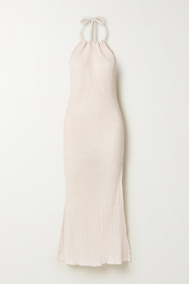 Savannah Morrow The Label Net Sustain Jaya Crinkled Organic Cotton-gauze Halterneck Midi Dress - Cream