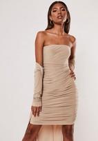 Missguided Stone Slinky Bandeau Mini Dress And Duster Jacket Set