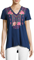 Johnny Was Floral-Embroidered Drape-Back Tee, Navy