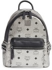 mcm small stark studded coated canvas leather backpack metallic
