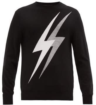 Neil Barrett Lightning Bolt Intarsia Wool Blend Sweater - Mens - Grey