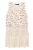 Select Fashion Fashion Womens White Macrame Vest - size L