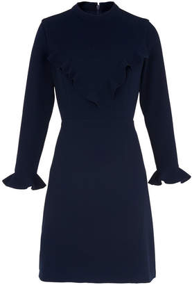 Whistles Maike V Frill Crepe Dress