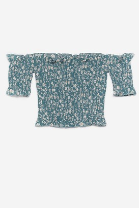 Nasty Gal Womens Plant Keep Away Floral Shirred Crop Top - Green - 6