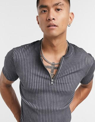 ASOS DESIGN muscle t-shirt in rib with oil wash and zip neck