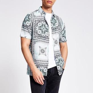 River Island Light green bandana print slim fit shirt