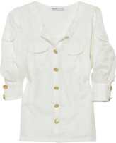 See by Chloé Collarless silk-blend blouse