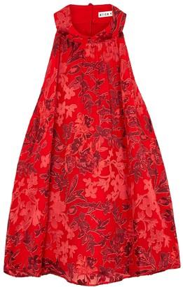 Alice + Olivia Ingrid red floral devore chiffon top