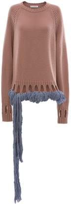 J.W.Anderson CREWNECK JUMPER WITH GEORGETTE DRAPES