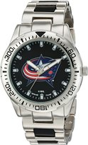 Game Time Men's NHL-HH-CBJ Heavy Hitter Analog Display Japanese Quartz Silver Watch