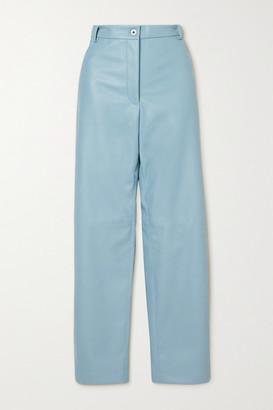 Stella McCartney - Hailey Vegetarian Leather Straight-leg Pants - Blue