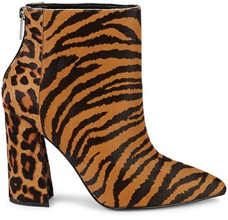 Charles David Tiger Leopard Calf Hair Point-Toe Booties