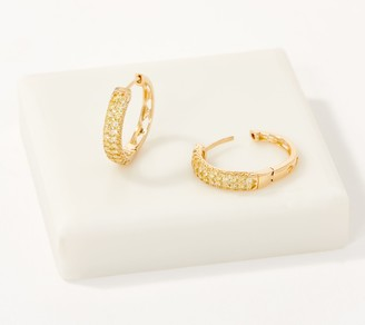 Affinity Diamond Jewelry Affinity 14K Gold Natural Yellow Diamond Hoop Earrings, 1/2cttw