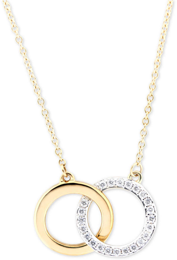 Wrapped WrappedTM Diamond Double Circle Pendant Necklace (1/6 ct. t.w.) in in 10k Gold, Created for Macy's