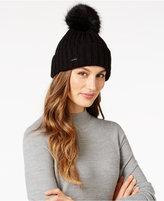Calvin Klein Ribbed Faux-Fur Pom Pom Beanie