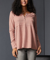 Suzanne Betro Weekend Women's Tunics 101VINTAGE - Vintage Rose Ribbed Babydoll Henley Tunic - Women & Plus