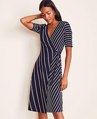 Ann Taylor Mixed Stripe Wrap Dress
