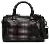 Just Cavalli Laser-Cut Leather Shoulder Bag