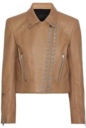 Alexander Wang Studded Textured-leather Biker Jacket