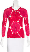 Tory Burch Floral-Printed Crew Neck Cardigan