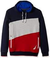 Nautica Men's Long Sleeve Big Logo Colorblocked Pullover Hoodie
