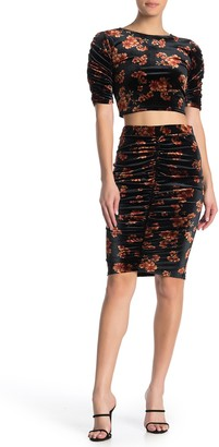 Free Press Velour Ruched Skirt