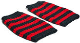 Gucci Men's Striped Knit Hand Warmer Gloves In Black And Red