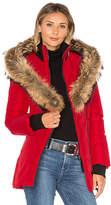 Mackage Adali Coat with Asiatic Raccoon Fur Trim in Red