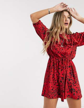 Topshop mini tea dress in red print