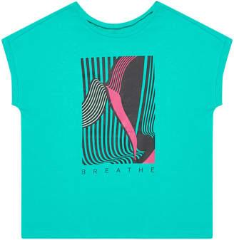 MOODO Women's Tee Shirts green - Green & Pink 'Breathe' Cap-Sleeve Tee - Women