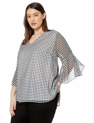 Calvin Klein Women's Plus Size Small V-Neck Ruffle Sleeve
